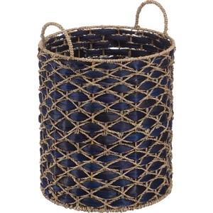Корзина бельевая Natural House с ручками Индиговое плетение, Д350 Ш350 В400, светло-соломенный, индиговый