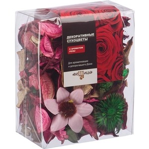 Набор сухоцветов ВеЩицы из натуральных материалов с ароматом розы, Д95 Ш60 В120, пакет