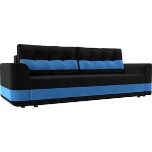 Диван еврокнижка Лига Диванов Честер велюр черный вставка голубая . диван еврокнижка лига диванов честер велюр фиолетовый вставка черная