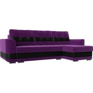Диван угловой АртМебель Честер вельвет фиолетовый вставка экокожа черная правый угол