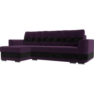Диван угловой АртМебель Честер велюр фиолетовый вставка черная левый угол