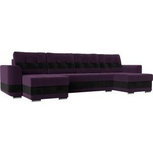 Диван АртМебель Честер велюр фиолетовый вставка черная П-образный цена