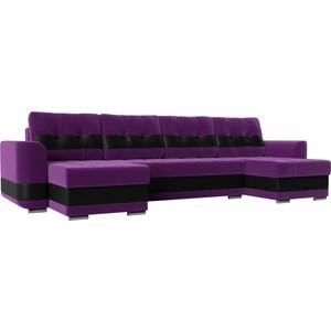 Диван АртМебель Честер вельвет фиолетовый вставка экокожа черная П-образный