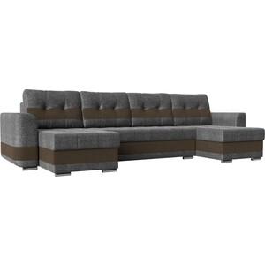 Диван Лига Диванов Честер рогожка серый вставка коричневая П-образный прямой диван лига диванов каир рогожка серый вставка коричневая