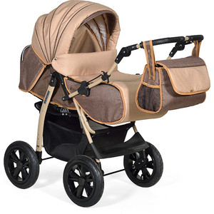 Коляска трансформер Indigo SANCHO Len Sa 10 (коричневый+бежевый) коляска 2 в 1 для двоих детей riko team 04 бежевый коричневый