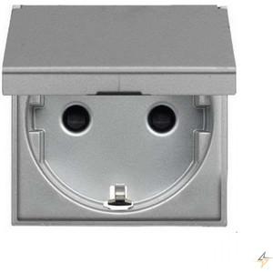 Розетка ABB Zenit 16А 250В с защитной крышкой защитные шторки с заземлением серебристый (N2288.1 PL) abb розетка акустическая abb impuls черный бриллиант