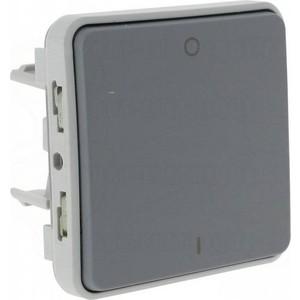 Выключатель одноклавишный Legrand СП PLEXO 10А IP55 серый (069530) коробка распределительная legrand plexo 40х40х60 мм цвет серый ip55