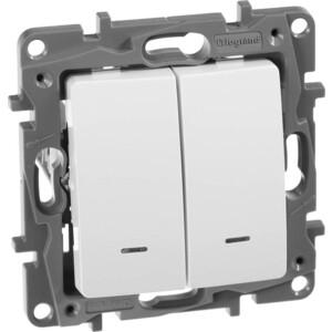 Переключатель двухклавишный Legrand СП Etika с подсветкой автоматические зажимы белый (672216)