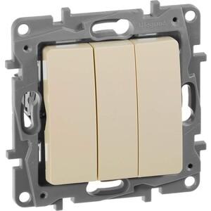 Выключатель трехклавишный Legrand СП Etika 10А IP20 винтовые зажим слоновая кость. (672313) выключатель 3 клавишный бежевый винт 10а etika