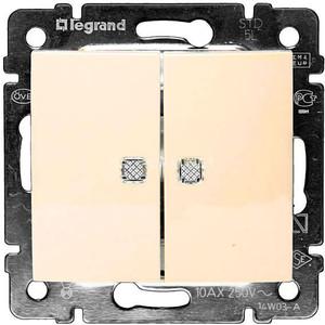 Выключатель двухклавишный Legrand СП Valena 10А IP31 с зел. инд. слоновая кость (774328)