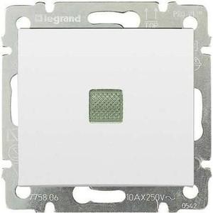 Выключатель одноклавишный Legrand СП Valena 10А IP31 с зел. инд. белый (774410)