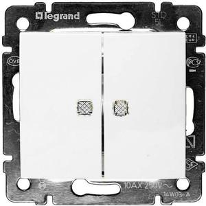Выключатель двухклавишный Legrand СП Valena 10А IP31 с зел. инд. белый (774428)