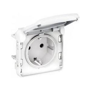 Розетка с заземлением Legrand СП Plexo с защитной крышкой IP55 белая (069639) коробка распределительная legrand plexo 40х40х60 мм цвет серый ip55