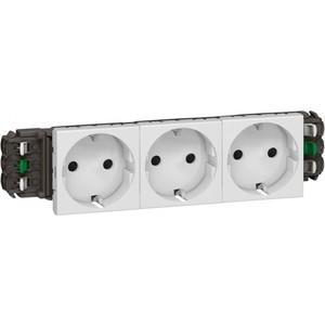 Розетка с заземлением Legrand тройная СП Mosaic New 6мод. для кабель-канала DLP белая (077403) кабель