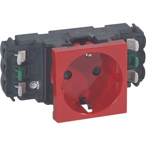 Розетка с заземлением Legrand СП Mosaic New 2К+З для кабель-канала DLP с механической блокировкой красная (077421) elada mosaic a917 327x327x4мм красная