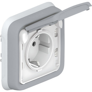 Розетка с заземлением Legrand СП Plexo с защитной крышкой и суппортом IP55 серая (069833) коробка распределительная legrand plexo 40х40х60 мм цвет серый ip55