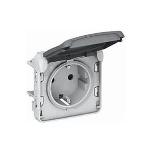 цена Розетка с заземлением Legrand СП Plexo с защитной крышкой винтовые клеммы IP55 серая (069571) в интернет-магазинах