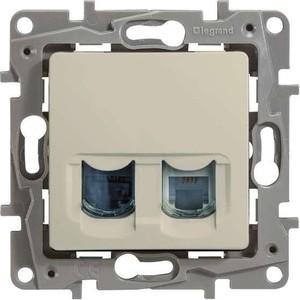 Розетка компьютер+телефон Legrand СП Etika RJ11 + RJ45 CAT.5 UTP слоновая кость (672352) цена