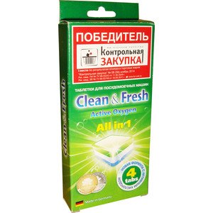 Таблетки для посудомоечной машины (ПММ) Clean and Fresh All in 1, 4 шт