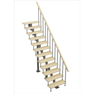 Лестница на металлокаркасе ЛЕСЕНКА Стандарт, прямой марш, h 2520-2660см, 180 шаг (MOD-00-19)