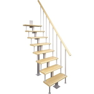 Лестница на металлокаркасе ЛЕСЕНКА Линия-Квадро, прямой марш, h 2250-2475 (MOD-00-36)