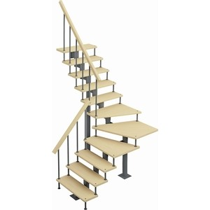 Лестница на металлокаркасе ЛЕСЕНКА Фаворит, поворот 90С, h 3420-3610, 180 шаг (MOD-90-25)