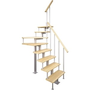 Лестница на металлокаркасе ЛЕСЕНКА Компакт-Квадро, поворот 90С, h 2700-2925 (MOD-90-39)