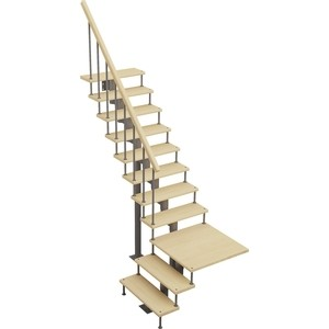 Лестница на металлокаркасе ЛЕСЕНКА Статус, поворот 90С с площадкой, h 2700-2820 (MOD-90-45)