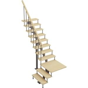 Лестница на металлокаркасе ЛЕСЕНКА Статус, поворот 90С с площадкой, h 3375-3525 (MOD-90-48)