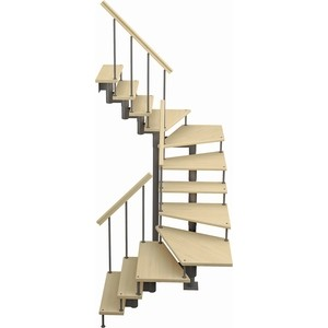 Лестница на металлокаркасе ЛЕСЕНКА Спринт, поворот на 180С, h 3375-3525 (MOD-180-07)