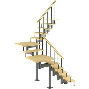 Лестница на металлокаркасе ЛЕСЕНКА Комфорт, поворот 180С с площадками, h 2250-2350 (MOD-180-41)