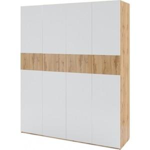 Шкаф 4-х дверный Комфорт - S Arvo Хелми М 6 дуб вотан/белый глянец