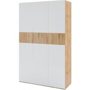 Шкаф 3-х дверный Комфорт - S Arvo Хелми М 7 дуб вотан/белый глянец