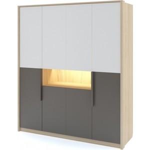 Шкаф 4-х дверный Комфорт - S Arvo Веса М 9 туя/белый/шоколад