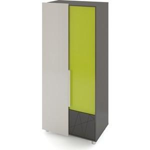 Шкаф 2-х дверный Комфорт - S Arvo Тармо М 5 темно-серый/лайм/белый