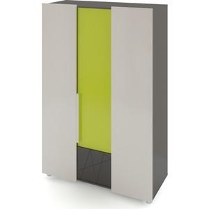 Шкаф 3-х дверный Комфорт - S Arvo Тармо М 6 темно-серый/лайм/белый