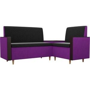 Кухонный уголок АртМебель Модерн вельвет черный/фиолетовый правый угол