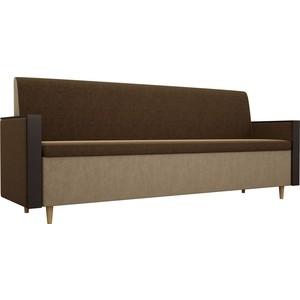 Кухонный прямой диван АртМебель Модерн вельвет коричневый/бежевый фото