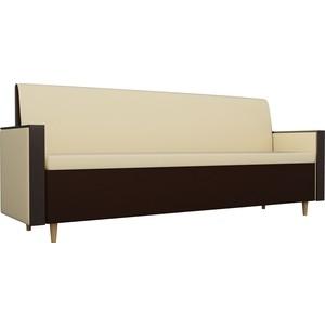 Кухонный прямой диван АртМебель Модерн экокожа бежевый/коричневый