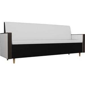 Кухонный прямой диван АртМебель Модерн экокожа белый/черный