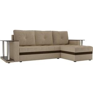 Угловой диван АртМебель Атланта М 2 стола вельвет бежевый правый угол фото