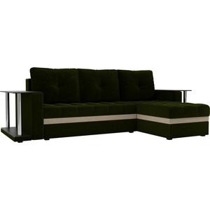 купить Угловой диван АртМебель Атланта М 2 стола вельвет зеленый правый угол по цене 22900 рублей