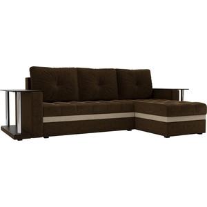 Угловой диван АртМебель Атланта М 2 стола вельвет коричневый правый угол фото
