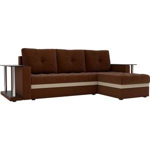 Угловой диван АртМебель Атланта М 2 стола рогожка коричневый правый угол