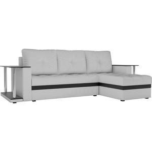 Угловой диван АртМебель Атланта М 2 стола экокожа белый правый угол