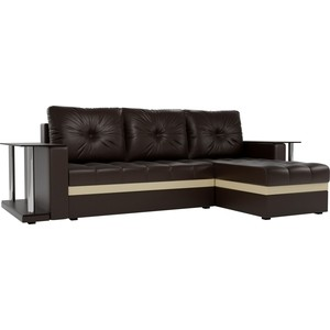 Угловой диван АртМебель Атланта М 2 стола экокожа коричневый правый угол фото