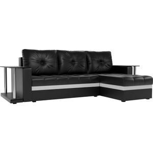 Угловой диван АртМебель Атланта М 2 стола экокожа черный правый угол