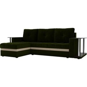 купить Угловой диван АртМебель Атланта М 2 стола вельвет зеленый левый угол по цене 22900 рублей