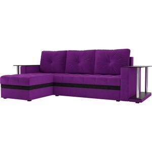 Угловой диван АртМебель Атланта М 2 стола вельвет фиолетовый левый угол