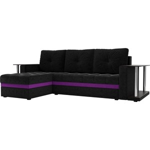 Угловой диван АртМебель Атланта М 2 стола вельвет черный левый угол фото